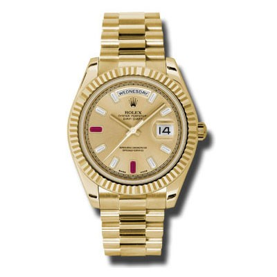 Rolex Day-Date II RARE Factory Champagne Ruby Baguette Dial