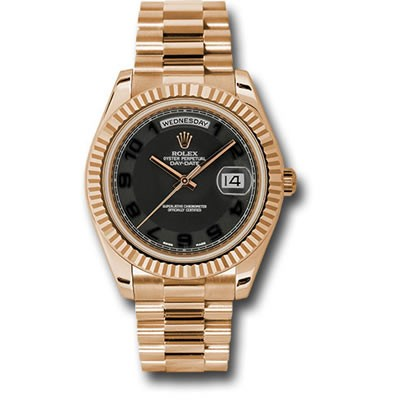 Rolex DayDate II 41mm Rose Gold Black Arabic