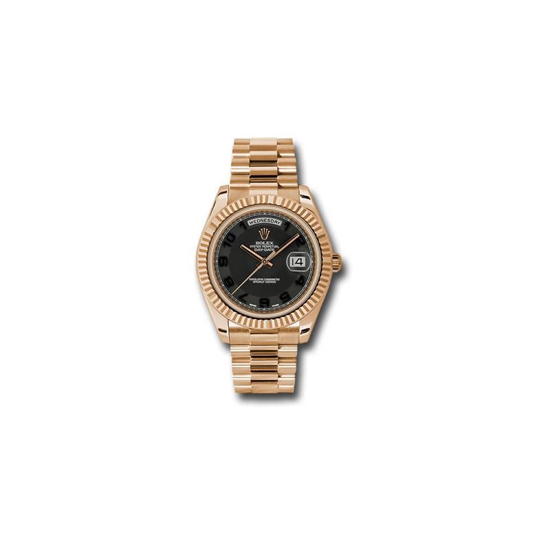 Rolex DayDate II 41mm Rose Gold Black Arabic