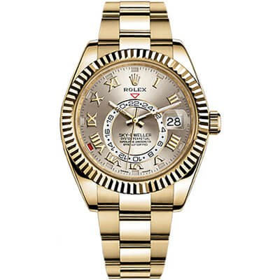 Rolex Sky-Dweller 326938 Yellow Gold Silver Dial